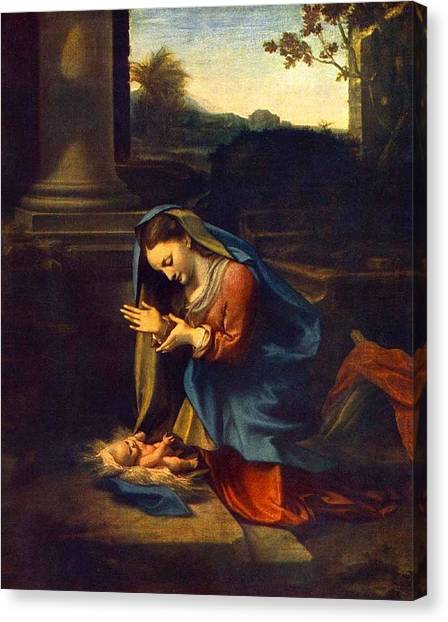 Adoration Of The Child Canvas Print