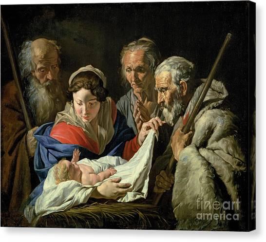 Crib Canvas Print - Adoration Of The Infant Jesus by Stomer Matthias