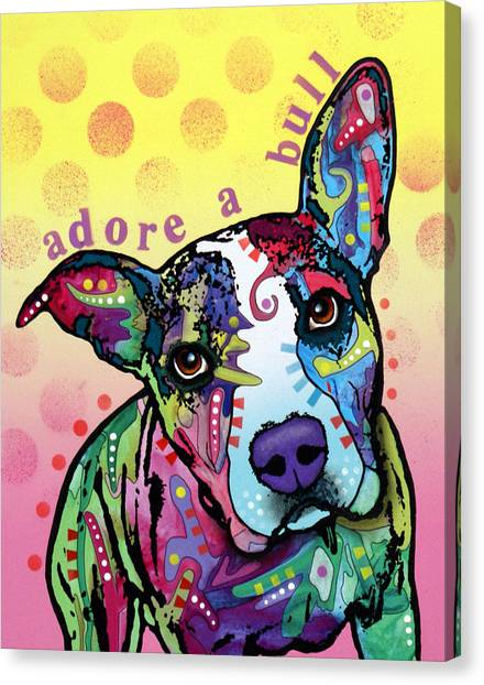 Pitbulls Canvas Print - Adoreabull by Dean Russo Art