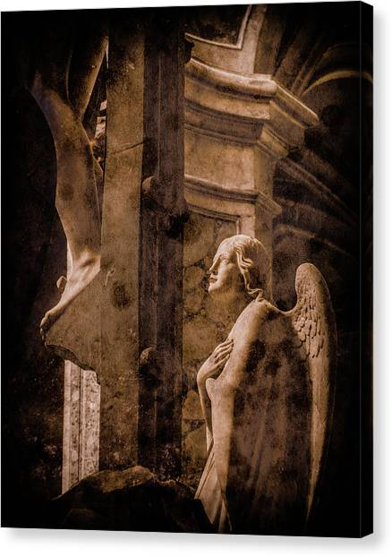 Canvas Print featuring the photograph Paris, France - Adoring Angel by Mark Forte