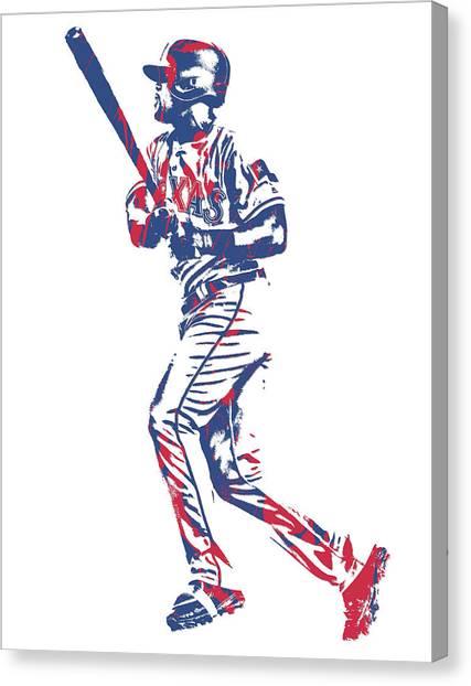 Texas Rangers Canvas Print - Adrian Beltre Texas Rangers Pixel Art 3 by Joe Hamilton