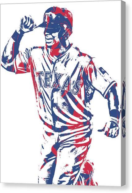 Texas Rangers Canvas Print - Adrian Beltre Texas Rangers Pixel Art 4 by Joe Hamilton