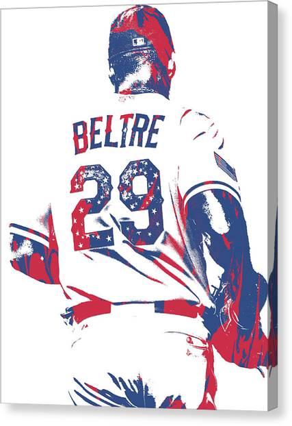 Texas Rangers Canvas Print - Adrian Beltre Texas Rangers Pixel Art 5 by Joe Hamilton