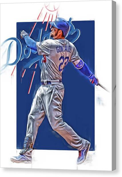 Los Angeles Dodgers Canvas Print - Adrian Gonzalez Los Angeles Dodgers Oil Art by Joe Hamilton