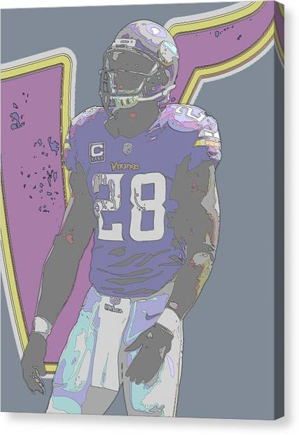 Minnesota Vikings Canvas Print - Adrian Peterson Minnesota Vikings Contour Art by Joe Hamilton