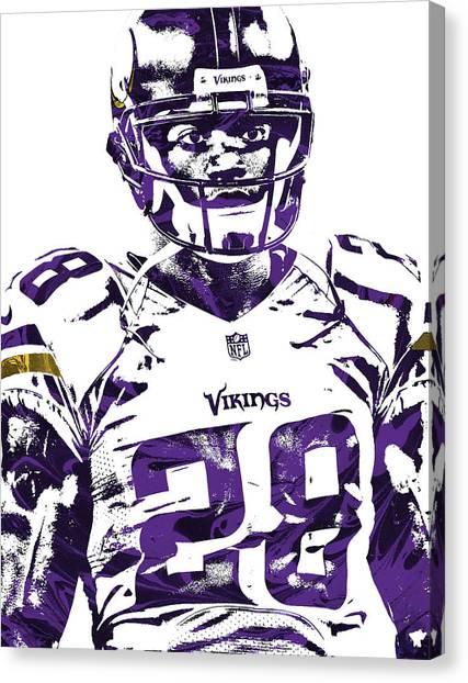 Minnesota Vikings Canvas Print - Adrian Peterson Minnesota Vikings Pixel Art 2 by Joe Hamilton