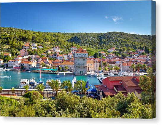 Adriatic Village Of Marina Near Trogir Canvas Print