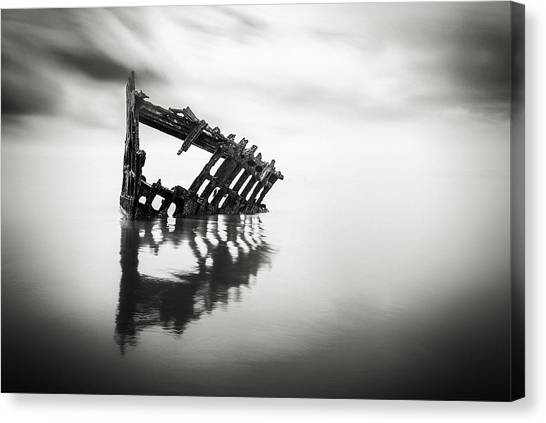Peter Iredale Canvas Print - Adrift At Sea In Black And White by Eduard Moldoveanu