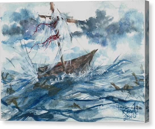 Canvas Print featuring the painting Adrift At Sea by Reed Novotny