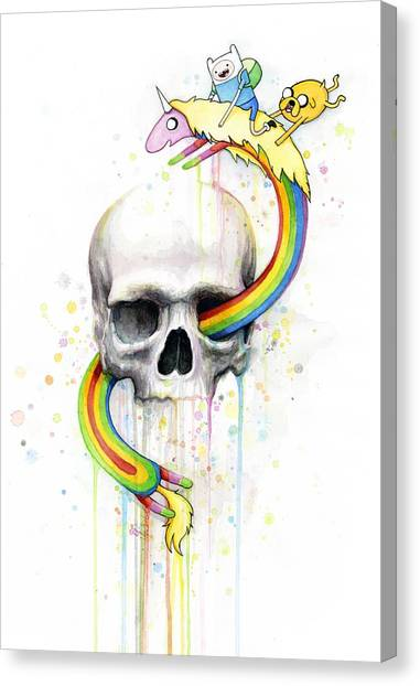 Skulls Canvas Print - Adventure Time Skull Jake Finn Lady Rainicorn Watercolor by Olga Shvartsur