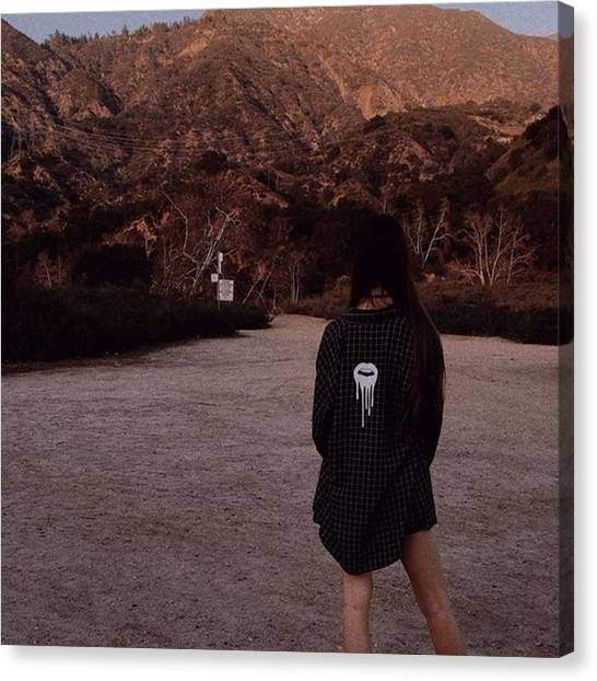 Flannel Canvas Print - Adventuring To Eaton Canyon While by Nikki Saryan