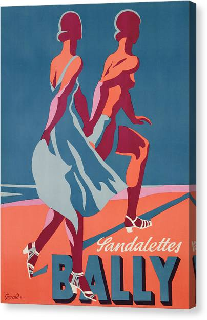 Lovers Canvas Print - Advertisement For Bally Sandals by Druck Gebr