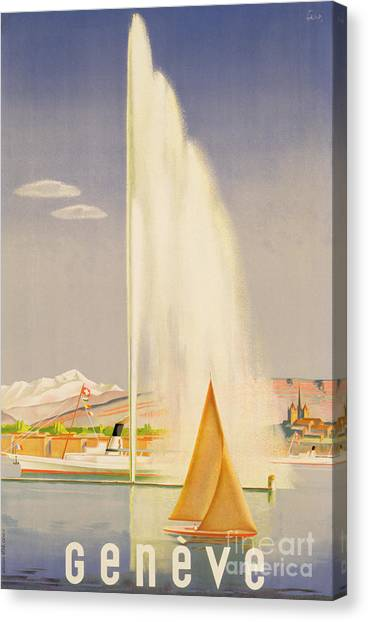 Boat Canvas Print - Advertisement For Travel To Geneva by Fehr