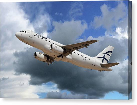 Airlines Canvas Print - Aegean Airlines Airbus A320-232 by Smart Aviation