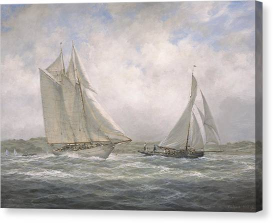 Schooner Canvas Print - Aello Beta And Marigold Off The Isle Of Wight by Richard Willis