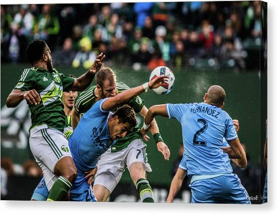 Portland Timbers Canvas Print - Aerial Chaos  by Roscoe Myrick