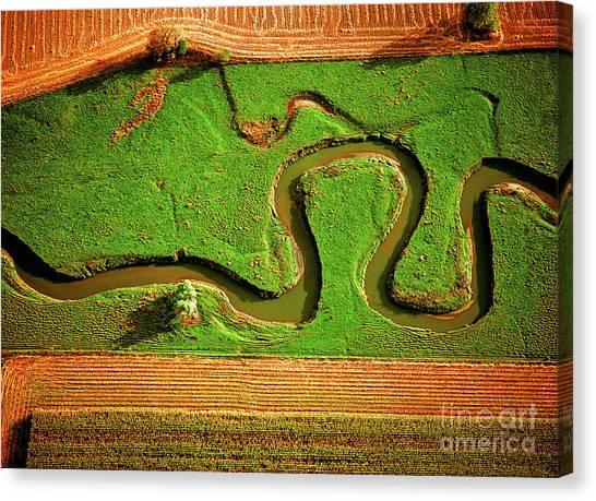 aerial, farm, stream, northern, Illinois, farms, meandering  Canvas Print