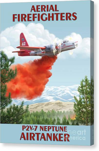 Aerial Firefighters P2v Neptune Canvas Print by Airtanker Art