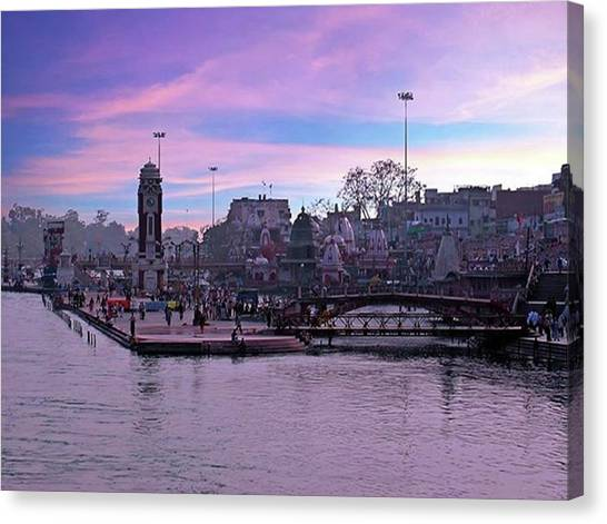 Ganges Canvas Print - Aerial From The Citycenter Of Haridwar by Worldfotoart  Masselink