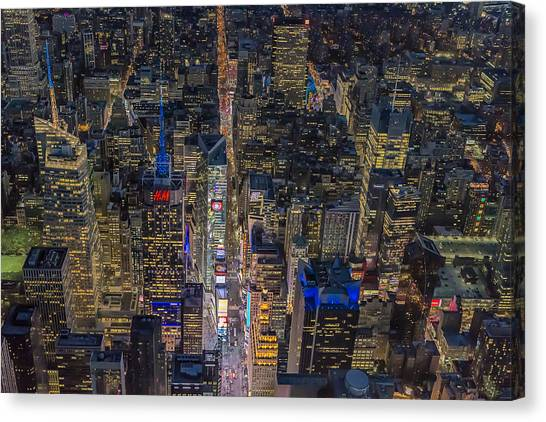 Times Square Canvas Print - Aerial New York City 42nd Street by Susan Candelario