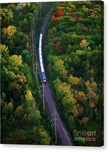 Aerial Of  Commuter Train  Canvas Print