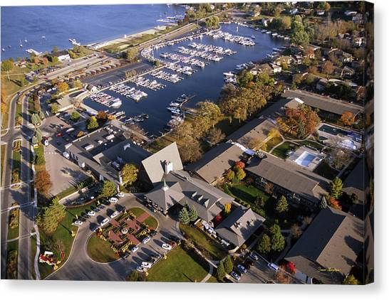 Aerial Of The Abbey Resort And Harbor - Fontana Wisconsin Canvas Print