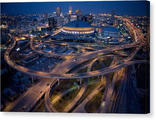 Hurricanes Canvas Print - Aerial Of The Superdome In The Downtown by Tyrone Turner
