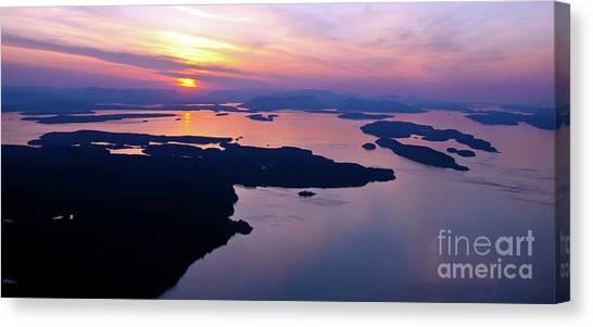 Orcas Canvas Print - Aerial San Juan Island Sunset Views by Mike Reid