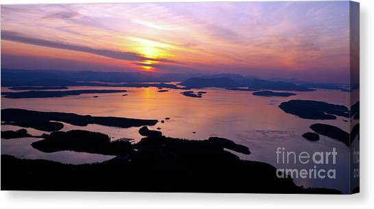 Orcas Canvas Print - Aerial San Juan Islands Sunset Tranquility by Mike Reid