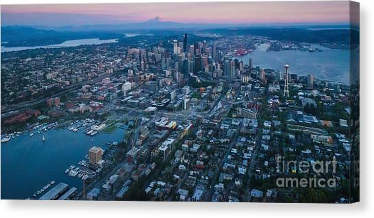 Cloud Forests Canvas Print - Aerial Seattle Dusk Cityscape by Mike Reid