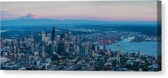 Cloud Forests Canvas Print - Aerial Seattle Puget Sound At Dusk by Mike Reid