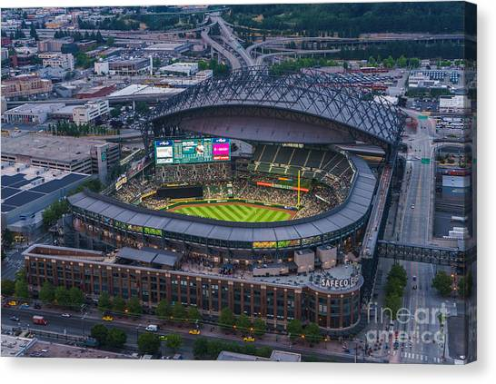 Seattle Mariners Canvas Print - Aerial Seattle Safeco Field Mariners by Mike Reid