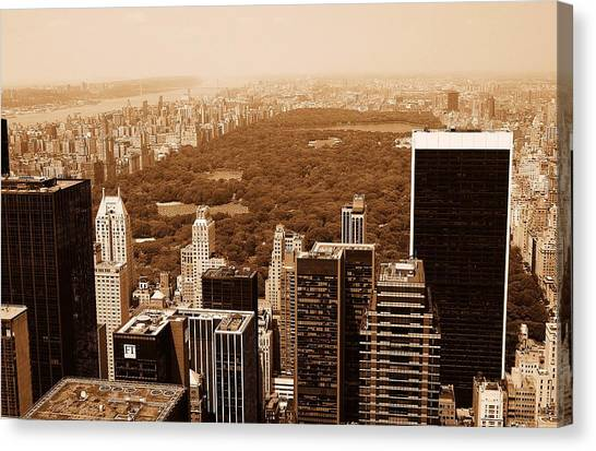 Aerial View Central Park Canvas Print by Allan Einhorn