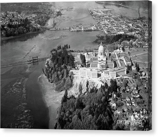 Aerial View Northward Over Olympia Canvas Print
