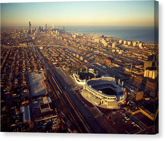 Soldier Field Canvas Print - Aerial View Of A City, Old Comiskey by Panoramic Images
