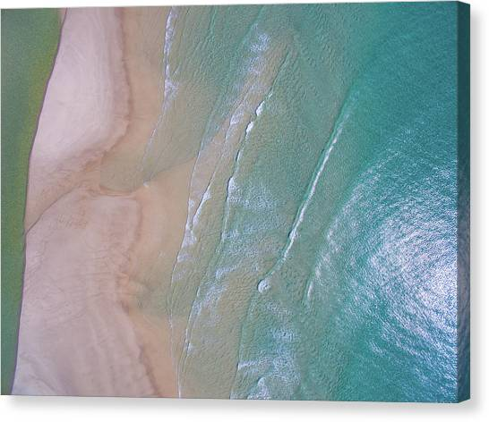 Aerial View Of Beach And Wave Patterns Canvas Print