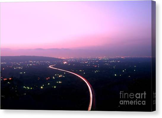 Aerial View Of Highway At Dusk Canvas Print