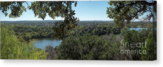 Aerial View Of Large Forest And Lake Canvas Print