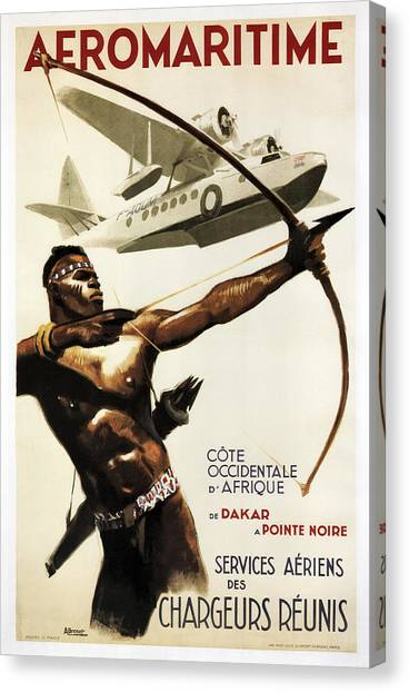 Seaplanes Canvas Print - Aeromaritime To Africa Vintage Travel 1950 by Daniel Hagerman