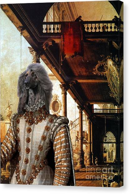 Afghan Hound-capriccio Of Colonade And The Courtyard Of A Palace Canvas Fine Art Print Canvas Print