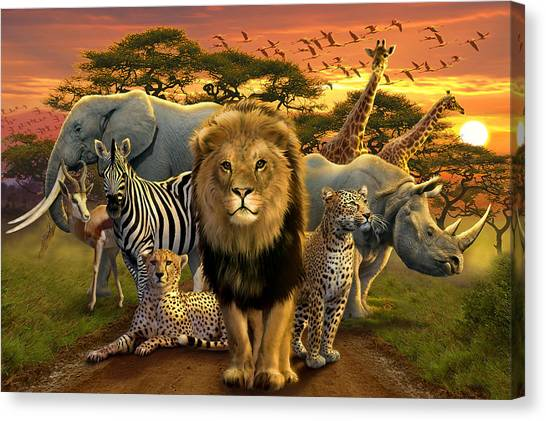 Childrens Room Canvas Print - African Beasts by Andrew Farley