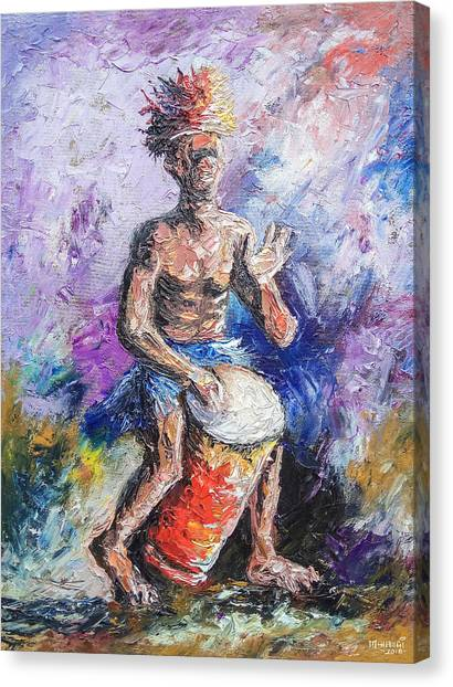 Djembe Canvas Print - African Drummer by Anthony Mwangi