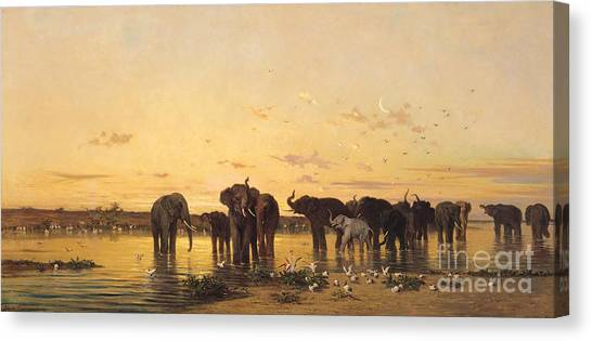 Cranes Canvas Print - African Elephants by Charles Emile de Tournemine