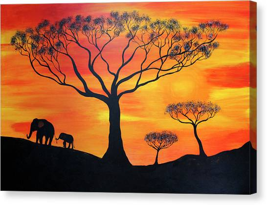 Pigmy Canvas Print - Borneo Pigmy  Elephants by Tina Law