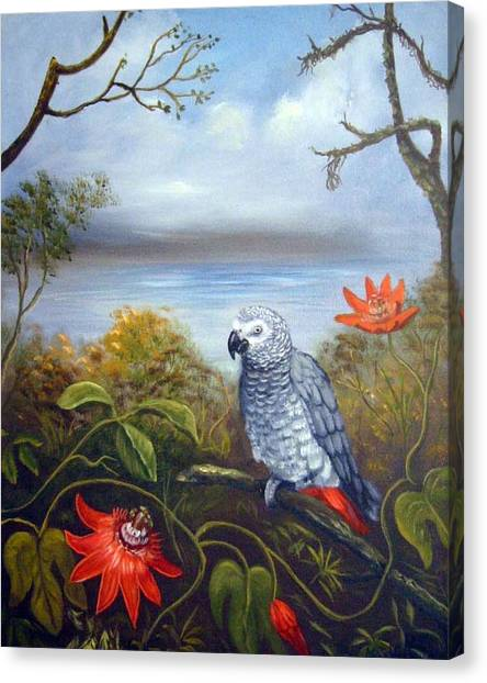Canvas Print - African Grey With Flowers by Anne Kushnick