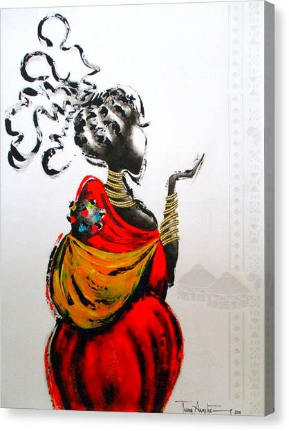 African Lady And Baby Canvas Print