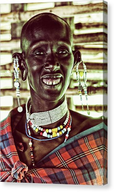 African Maasai Teacher Canvas Print