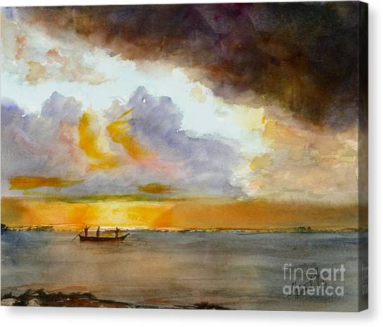 Dhow Canvas Print - African Sunrise by Mohamed Hirji