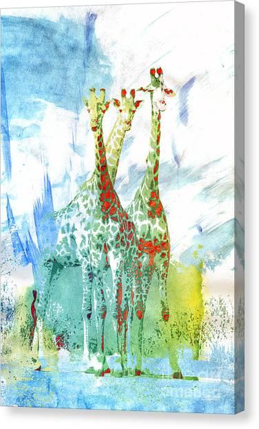 Creative Manipulation Canvas Print - African Trio by Jutta Maria Pusl