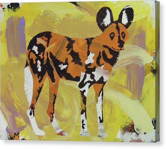 Canvas Print featuring the painting African Wild Dog by Candace Shrope